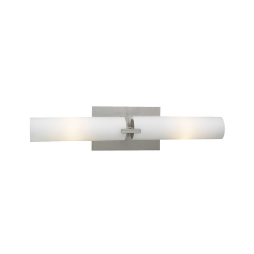 PLC Lighting Modern Bathroom Light with White Glass in Satin Nickel Finish 918 SN