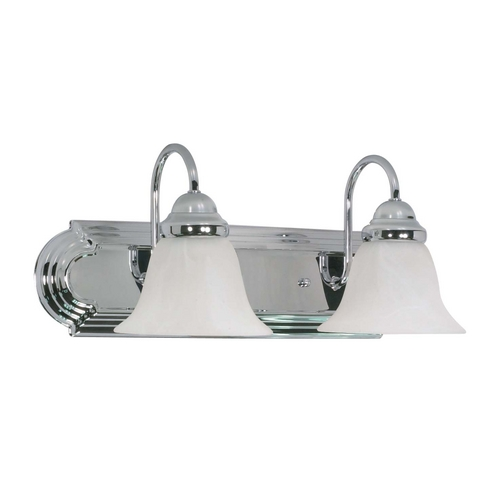 Nuvo Lighting Bathroom Light with Alabaster Glass in Polished Chrome Finish 60/316