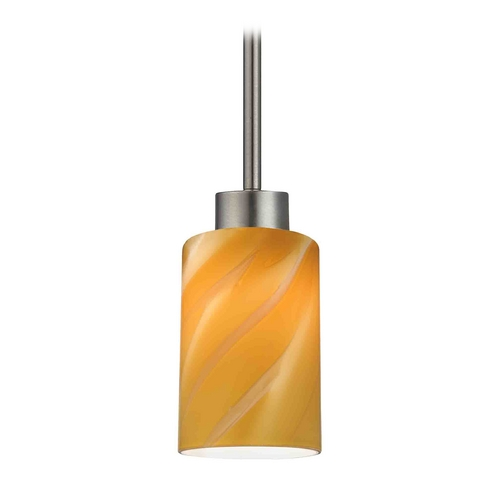 Design Classics Lighting Modern Mini-Pendant Light with Butterscotch Art Glass 1123-1-09 GL1022C
