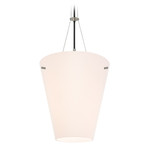 Sonneman Lighting Modern Pendant Light with White Glass in Satin Nickel Finish 3299.13
