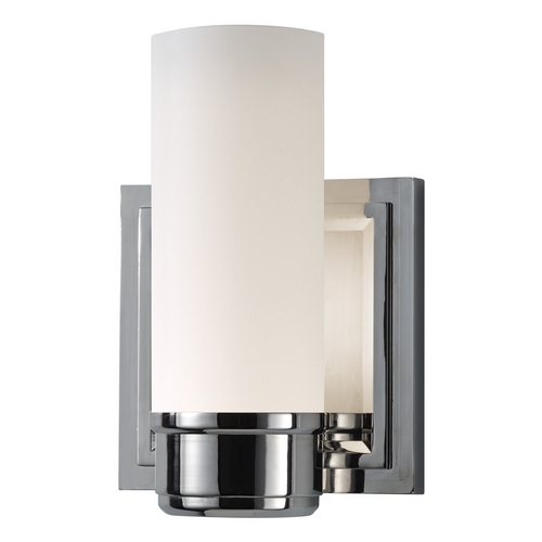 Feiss Lighting Sconce Wall Light with White Glass in Polished Nickel Finish VS38001-PN