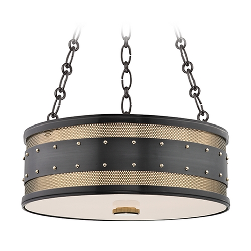 Hudson Valley Lighting Hudson Valley Lighting Gaines Aged Old Bronze Pendant Light with Drum Shade 2216-AOB
