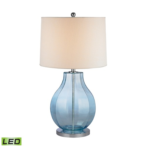 Dimond Lighting Dimond Lighting Translucent Light Blue LED Table Lamp with Drum Shade D2631-LED