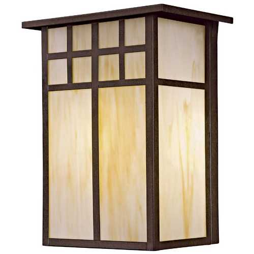 Minka Lavery Outdoor Wall Light with Art Glass in Textured French Bronze Finish 8603-A179-PL