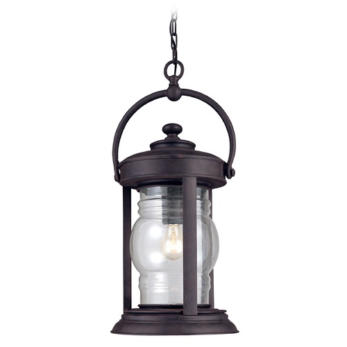Troy Lighting Outdoor Hanging Light with Clear Glass in Natural Rust Finish F1418NR