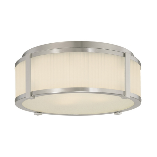 Sonneman Lighting Flushmount Light with White Glass in Satin Nickel Finish 4355.13