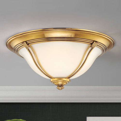 Hudson Valley Lighting Flushmount Light with White Glass in Flemish Brass Finish 5411-FB