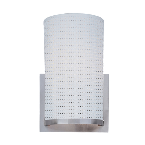 ET2 Lighting Modern Sconce Wall Light with White Shade in Satin Nickel Finish E95084-100SN