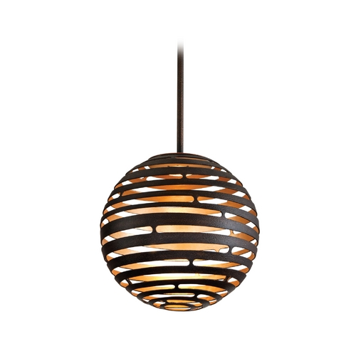 Corbett Lighting Modern LED Pendant Light with Brown Tones Cage Shade in Textured Bronze with Finish 138-41