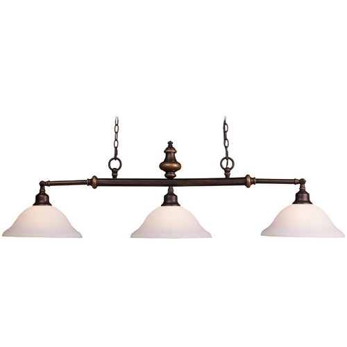 Elk Lighting Island Light with White Glass in Aged Bronze Finish 66175-3