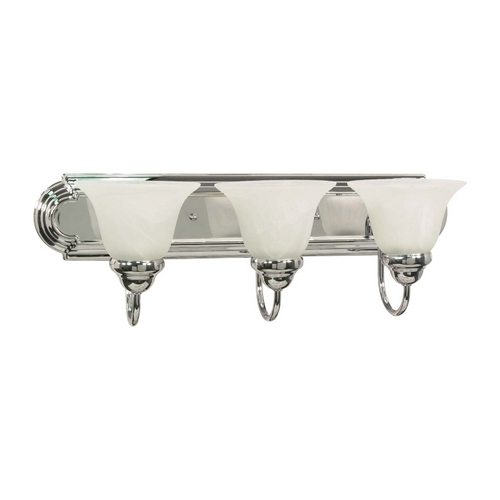 Nuvo Lighting Bathroom Light with Alabaster Glass in Polished Chrome Finish 60/317