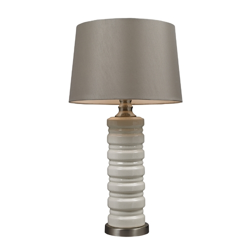 Dimond Lighting Table Lamp in Brushed Steel with Grey Drum Shade D131
