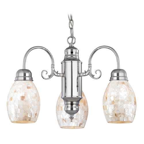 Design Classics Lighting Mini-Chandelier with Mosaic Glass in Chrome Finish 708-26 GL1034