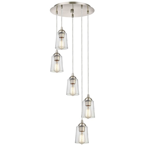 Design Classics Lighting Satin Nickel Multi-Light Pendant with Clear Cone Glass and 5-Lights 580-09 GL1027-CLR