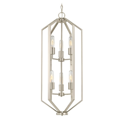 Dolan Designs Lighting Hexagon 6-Light Chandelier - Satin Nickel Finish 1142-09