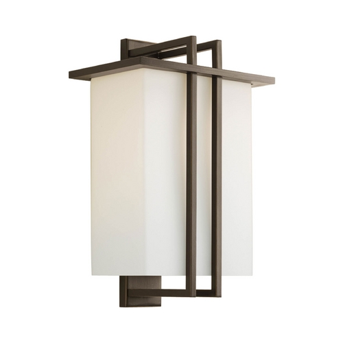 Progress Lighting Progress Modern Outdoor Wall Light with White Glass in Bronze Finish P5992-20