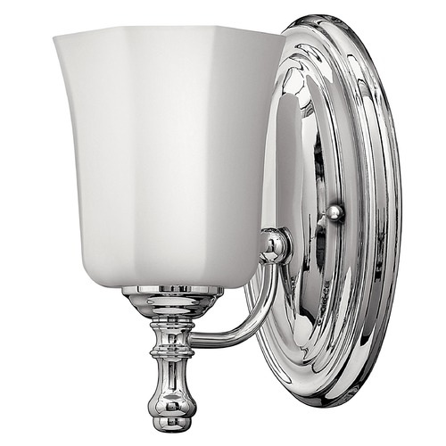 Hinkley Lighting Sconce with White Glass in Chrome Finish 5010CM