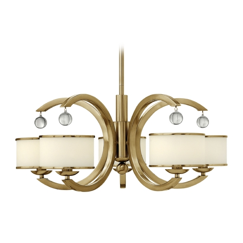 Hinkley Lighting Chandelier with White Glass in Brushed Caramel Finish 4855BC