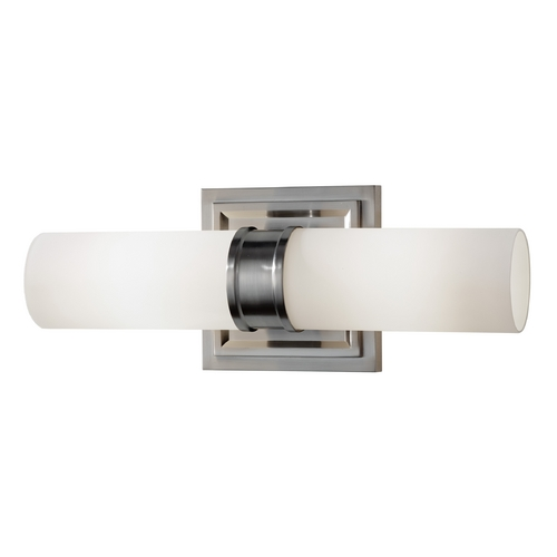 Feiss Lighting Bathroom Light with White Glass in Brushed Steel Finish VS38002-BS