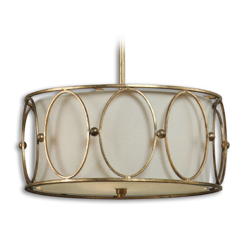 Uttermost Lighting Uttermost Ovala 3 Light Gold Drum Pendant 21955