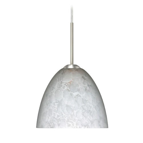 Besa Lighting Besa Lighting Sasha Ii Satin Nickel LED Mini-Pendant Light with Bell Shade 1BT-757219-LED-SN