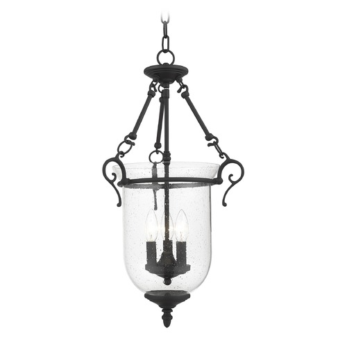 Livex Lighting Seeded Glass Pendant Light Black Livex Lighting 5025-04
