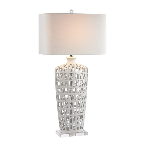Dimond Lighting Dimond Lighting Gloss White Table Lamp with Rectangle Shade D2637