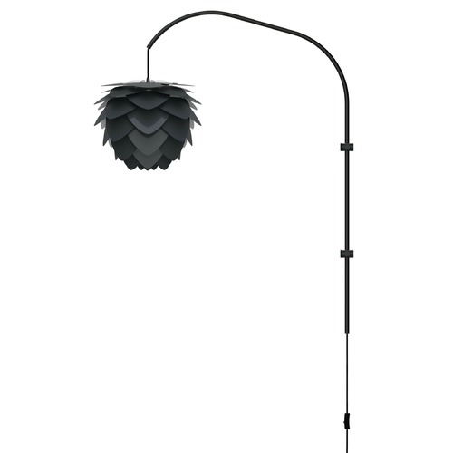 UMAGE Black Wall Lamp with Black Abstract Metal Shade 2130_4133