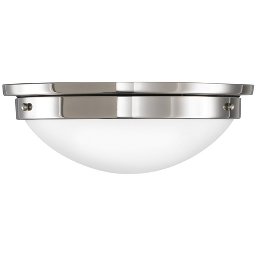 Feiss Lighting Modern Flushmount Light with White Glass in Polished Nickel Finish FM228PN
