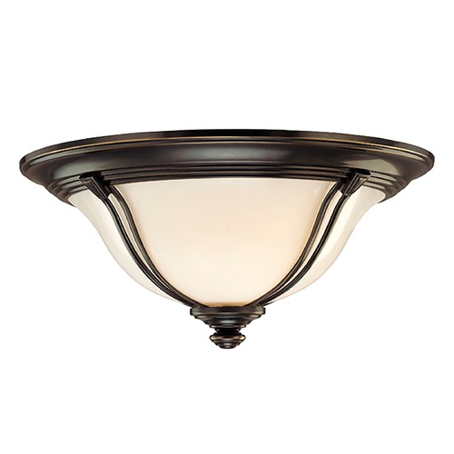 Hudson Valley Lighting Flushmount Light with White Glass in Old Bronze Finish 5411-OB