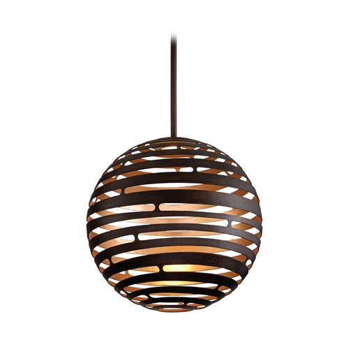 Corbett Lighting Modern LED Pendant Light with Brown Tones Cage Shade in Textured Bronze with Finish 138-42