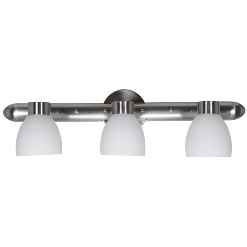 Access Lighting Modern Bathroom Light with White Glass in Brushed Steel Finish 23903-BS/OPL