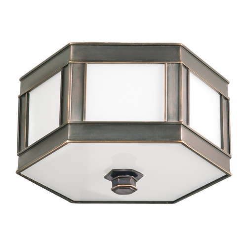 Hudson Valley Lighting Flushmount Light with White Glass in Old Bronze Finish 6413-OB