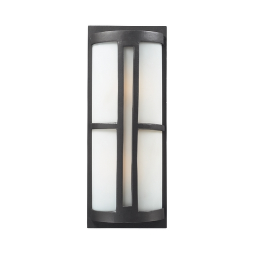 Elk Lighting Outdoor Wall Light with White Glass in Graphite Finish 42396/2
