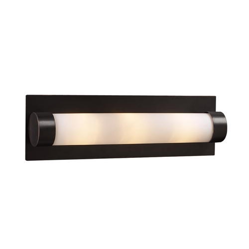 PLC Lighting Modern Bathroom Light with White Glass in Satin Nickel Finish 916 SN