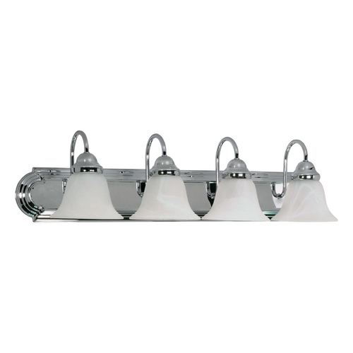 Nuvo Lighting Bathroom Light with Alabaster Glass in Polished Chrome Finish 60/318
