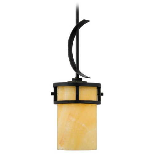 Quoizel Lighting Bronze Mini-Pendant Light with Butterscotch Onyx Stone Shade and Curved Band KY1507IB