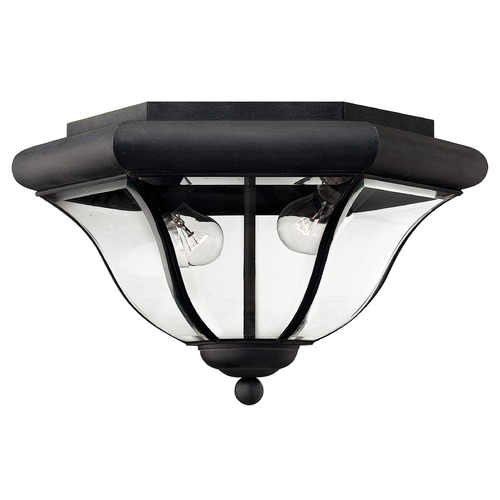 Hinkley Close To Ceiling Light with Clear Glass in Museum Black Finish 2443MB