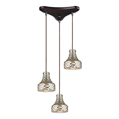 Elk Lighting Multi-Light Pendant Light with Mercury Glass and 3-Lights 46023/3