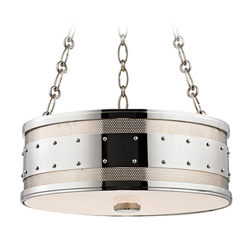 Hudson Valley Lighting Hudson Valley Lighting Gaines Polished Nickel Pendant Light with Drum Shade 2216-PN