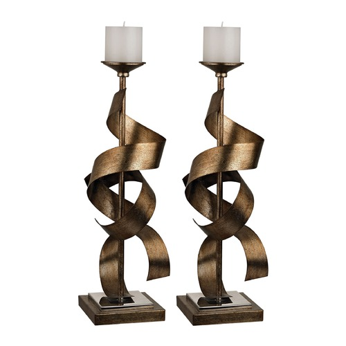 Sterling Lighting Set Of 2 Metal Sculpture Candle Holders 112-1148/S2