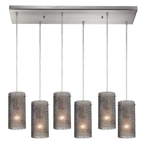 Elk Lighting Elk Lighting Ice Fragments Satin Nickel Multi-Light Pendant with Cylindrical Shade 10242/6RC-SM