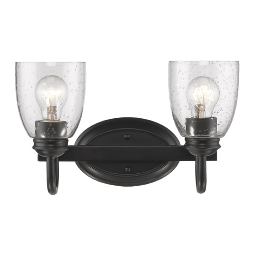 Golden Lighting Seeded Glass Bathroom Light Black Golden Lighting 8001-BA2 BLK-SD