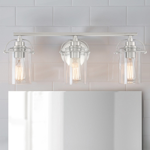 Quoizel Lighting Quoizel Emerson Brushed Nickel 3-Light Bathroom Light with Clear Glass Shades EMR8603BN