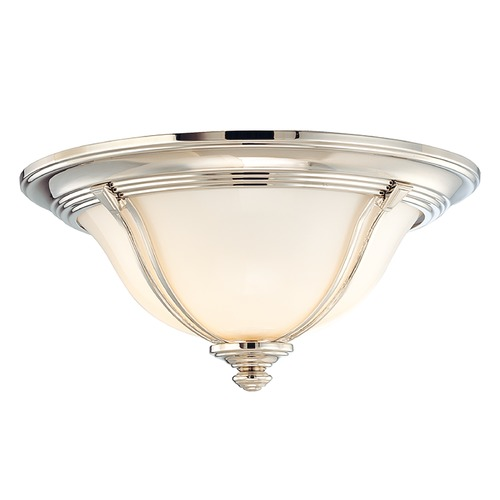 Hudson Valley Lighting Flushmount Light with White Glass in Polished Nickel Finish 5411-PN