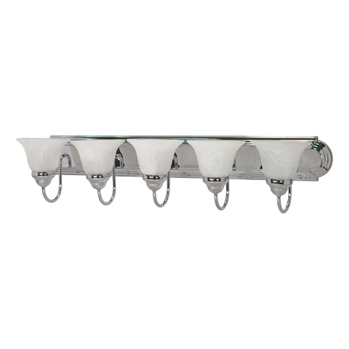 Nuvo Lighting Bathroom Light with Alabaster Glass in Polished Chrome Finish 60/319