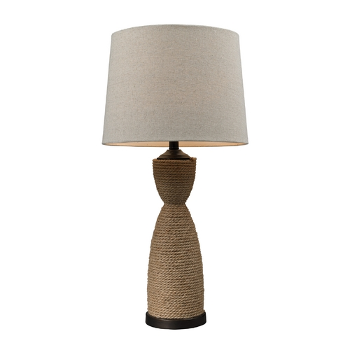 Dimond Lighting Table Lamp with Natural Rope Base and Barrel Lamp Shade D129