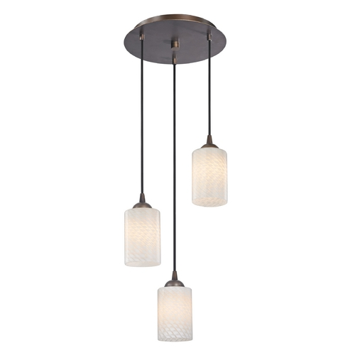 Design Classics Lighting Modern Multi-Light Pendant Light with White Glass and 3-Lights 583-220 GL1020C