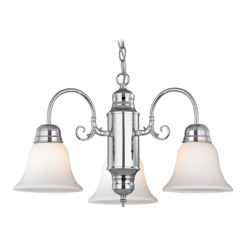 Design Classics Lighting Mini-Chandelier with White Glass in Chrome Finish 708-26 GL1032-WH