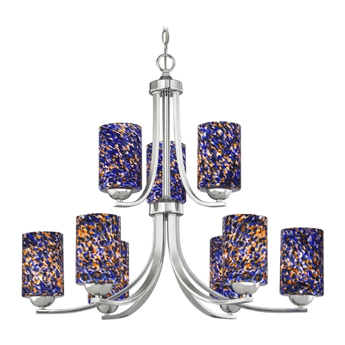 Design Classics Lighting Modern Chandelier in Polished Chrome Finish 586-26 GL1009C
